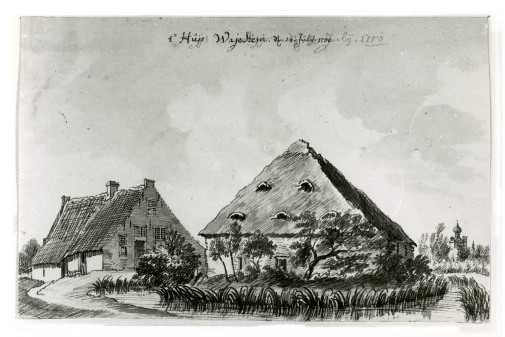 Ridderhofstad Wayenstein in Amerongen. Tekening Jan de Beijer, 1750